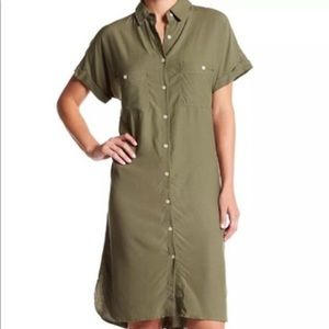 Max Studio Shirt Dress Button front Olive Green
